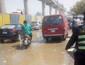 كثافات مرورية بسبب كسر ماسورة مياه فى مدينة بدر