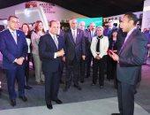"""الرئيس السيسى يزور جناح البنك الأهلى على هامش """"ملتقى الشباب"""""""