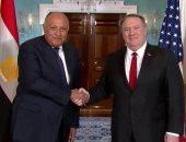 شكرى يبحث مع وزير الخارجية الأمريكى الأوضاع الإقليمية ذات الاهتمام المشترك