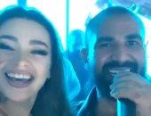 سيلفى ورقص.. أحمد سعد مع الراقصة جوهرة فى أول ظهور بعد طلاق سمية الخشاب