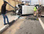 اصابة 3 أشخاص فى حادث انقلاب سيارة على طريق مطروح