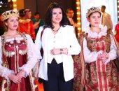 """منى الشاذلى وصبرى فواز وأشرف عبد الغفور فى العرض الخاص لمسرحية """"الملك لير"""""""
