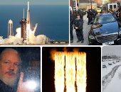 """صور.. العالم هذا الصباح.. عواصف ثلجية تضرب أجزاء من الولايات المتحدة الأمريكية.. """"SpaceX"""" تنجح فى إطلاق أقوى صاروخ إلى الفضاء.. اعتقال مؤسس ويكيليكس من داخل سفارة الإكوادور فى لندن"""
