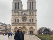 """""""عبد الله"""" يشارك بصورة لزيارته لكاتدرائية نوتردام بباريس"""