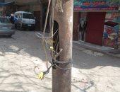 أعمدة كهرباء متهالكة بشارع كريستال عصفور فى شبرا الخيمة