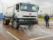 صور.. تشغيل أول سيارة توفر استهلاك المياه لغسل الشوارع بالإسكندرية