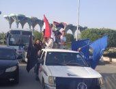 صور..مسيرات بالسيارات فى الإسماعيلية لحث المواطنين على المشاركة بالاستفتاء