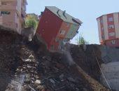 شاهد.. لحظة انهيار عقار من 4 طوابق فى تركيا