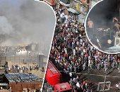 """فيديو وصور.. السيطرة على حريق 3 محلات بالموسكى.. """"الصحة"""": إصابة 15 مواطنًا باختناقات.. والتحريات الأولية: ماس كهربائى وراء اندلاع النيران.. وشهود: حضور سيارات الإطفاء السريع أنقذ الموقف"""
