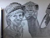 """""""فنان الصعيد"""".. حسام يسعى لإقامة معرض فنى للرسم فى سوهاج"""