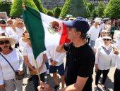 صور .. رئيس المكسيك السابق يقود مسيرة ضد حكومة الرئيس الحالى أندريس مانويل فى ليون