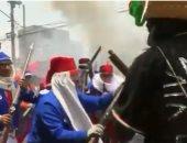 """شاهد.. المكسيكيون يحيون ذكرى انتصارهم على فرنسا بـ""""معركة"""" شعبية"""