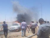 السيطرة على حريق سيارة بوصلة حازم حسن بطريق إسكندرية الصحراوى