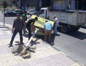 صور.. حملة لإزالة الإعلانات والإشغالات المخالفة شرق الإسكندرية