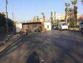 زحام مرورى بسبب حادث انقلاب سيارة نقل فى شارع الهرم