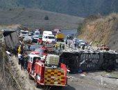 صور وفيديو .. حادث تصادم حافلة بشاحنة فى المكسيك ومصرع 21 شخصا