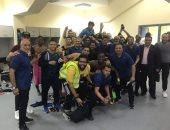 صور .. لاعبو الإنتاج يحتفلون بنقطة البقاء في الدوري