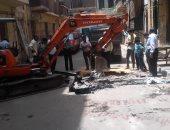 إصلاح هبوط أرضى غرب الإسكندرية لتحقيق السيولة المرورية