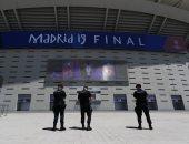 """الشرطة الإسبانية تؤمن ملعب """"واندا ميتروبوليتانو"""" قبل نهائى أوروبا.. صور"""