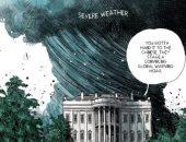 """رغم الأعاصير.. ترامب يصر على تغيير المناخ خدعة صينية بكاريكاتير لـ""""ذا ويك"""""""