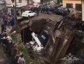 فيديو.. انهيار جسر فى جمهورية داغستان والخسائر فى سيارات المصلين فقط