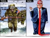 """بدين برابطة عنق مضحكة.. """"التايمز"""" تسخر من ترامب فى ذكرى إنزال نورماندى"""