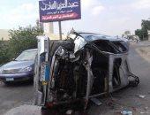 إصابة شابين فى اصطدام سيارة برصيف على طريق المنصورة - طلخا