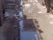 غرق شارع مصطفى سعد بالوراق بمياه الصرف الصحى