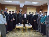 صور .. وفد من ممثلى كنائس بنى سويف قبطى يزور رئيس الجامعة
