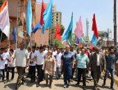 صور .. محافظ المنوفية يتقدم المسيرة الشبابية إحتفالاً بالعيد القومى