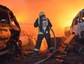 فيديو وصور.. السيطرة على حريق شب فى سيارات تالفة بتشليح بريمان بمحافظة جدة