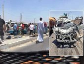إصابة 3 أشخاص فى انقلاب سيارة بطريق الصف الصحراوى