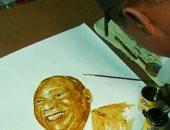فيديو..  رسام من جنوب أفريقيا يرسم مشاهير العالم بالقهوة