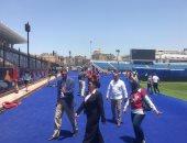 """صور.. """"وكيل الشباب"""" تتفقد استاد الإسكندرية قبل بطولة الإمم الأفريقية بساعات"""