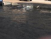 غرق منطقة طريق كفر طهرمس بمياه الصرف الصحى