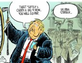 """تويتر والجولف"" استراتيجية ترامب نحو إيران فى كاريكاتير ""يو إس إيه توداى"""