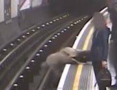 شاهد.. رجل يدفع مسناً على قضبان قطار الأنفاق بلندن