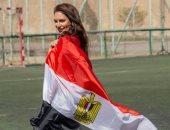 صور.. إيمى سلطان تحتفل بفوز منتخب مصر على الكونغو