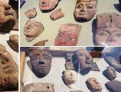 فيديو وصور.. العثور على وجوه خشبية دقيقة عمرها 2500 سنة بمقابر آثرية فى الفيوم