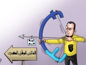 أزمة عمرو وردة سهم الإخوان لضرب المنتخب بالسوشيال فى كاريكاتير اليوم السابع