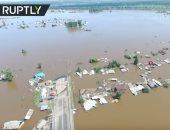 شاهد.. حجم الدمار الكارثى لفيضانات شرق روسيا