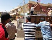 حملة مكبرة لإزالة الإشغالات بمنطقة المحمودية بمدينة أسوان