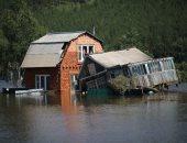منازل مدمرة نتيجة موجة فيضانات اجتاحت إقليم سيبيريا شرق روسيا