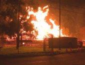 """فيديو.. حريق هائل يلتهم مستودع """"ويسكى"""" فى ولاية كنتاكى الأمريكية"""