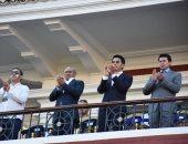 وزير الرياضة ورئيس كاف يتابعان مباراة مدغشقر والكونغو باستاد الإسكندرية