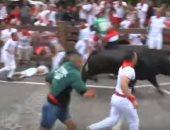 شاهد.. قتيلان وعشرات الجرحى فى سباق الثيران بإسبانيا
