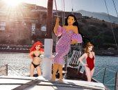 بين شطين وميه.أميرات ديزنى بالمايوه والفساتين على البحر يتمتعن بإجازة صيفية