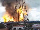 شاهد.. حريق كبير يلتهم محطة لتوليد الكهرباء فى العاصمة الروسية موسكو