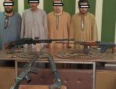 صور.. ضبط 5 بنادق و400 طلقة بحوزة 4 أشخاص خلال حملة أمنية بأسيوط