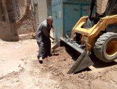 رفع 165 طن مخلفات صلبه وإزالة 13 مطب عشوائى بالمراغة سوهاج